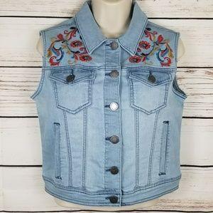 Denim Embroidered Floral Vest